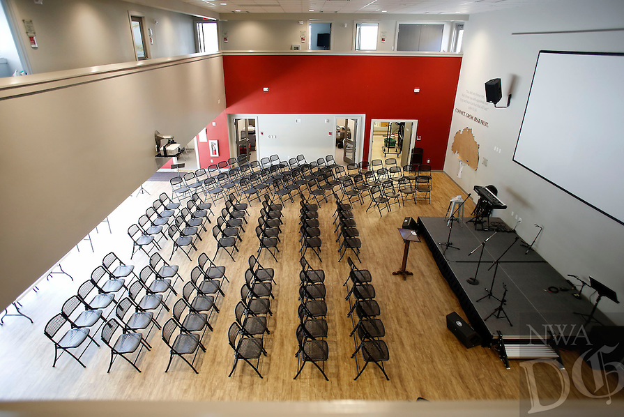 NWA Democrat-Gazette/DAVID GOTTSCHALK  The gathering room inside the new Wesley House opened by the United Methodist Church Thursday, April 21, 2016, for the University of Arkansas Wesley College Ministry located at 520 North Lindell Avenue in Fayetteville.