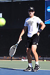 13 May 2016: Wake Forest's Dennis Uspensky. The Wake Forest University Demon Deacons hosted the Coastal Carolina University Chanticleers at the Wake Forest Tennis Center in Winston-Salem, North Carolina in a 2015-16 NCAA Division I Men's Tennis Tournament First Round match. Wake Forest won the match 4-0.