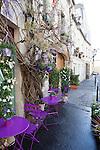 Beautifully decorated cafe on Rue Saint-Louis en L'ile, Ile de la Cite, Paris, France