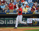 Mississippi's Miles Hamblin hits a two run home run in the third inning vs. South Carolina during the Southeastern Conference tournament at Regions Park in Hoover, Ala. on Wednesday, May 26, 2010. Ole Miss won 3-0.