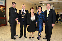 NO FEE PICTURES.25/1/13 Maureen Ledwith, Director Holiday World, Lord Mayor of Dublin is Naoise Ó Muirí and Clare Dunne, President ITAA with Edmund and Seamus Hourican at the Holiday World Show at the RDS, Dublin. Picture:Arthur Carron/Collins