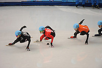 OLYMPICS: SOCHI: Iceberg Skating Palace, 13-02-2014, Shorttrack, Men's 1000m, Heats, Chris Creveling (#259 | USA), Charle Cournoyer (#203 | CAN), Niels Kerstholt (#247 | NED), ©photo Martin de Jong
