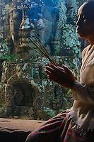 Buddhist Nun at the Khmer Bayon Temple, Siem Reap, Cambodia