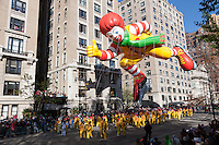 NEW YORK - NOVEMBER 24:  The Ronald McDonald helium filled balloon floats overhead during the annual Macy's Thanksgiving Day Parade on Thursday, November 24, 2011.