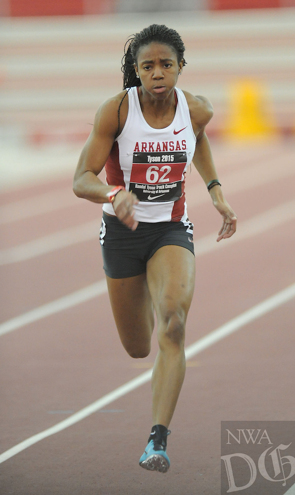 NWA Democrat-Gazette/ANDY SHUPE - Regine Williams of Arkansas competes in the 60 meters during the Tyson Invitational Friday, Feb. 13, 2015, at the Randal Tyson Track Center in Fayetteville.