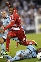 FC Dallas substitute Luis Perea attacks the KC goal... Sporting Kansas City defeated FC Dallas 2-1 at LIVESTRONG Sporting Park, Kansas City, Kansas.