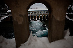 The Truckee River flows out of the Lake Tahoe Dam in Tahoe City, Calif., February 28, 2012..