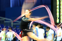 September 6, 2009; Mie, Japan;  Monika Mincheva of Bulgaria trains with ribbon at 2009 World Championships Mie. (Note: Slow shutter speeds for intentional blurs.) Photo by Tom Theobald .