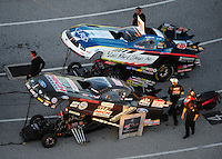 Jan. 20, 2012; Jupiter, FL, USA: Aerial view of NHRA funny car drivers John Force (bottom) and Tim Wilkerson during testing at the PRO Winter Warmup at Palm Beach International Raceway. Mandatory Credit: Mark J. Rebilas-