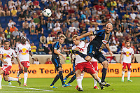 Conor Casey (6) of the Philadelphia Union back heels a shot. The New York Red Bulls and the Philadelphia Union played to a 0-0 tie during a Major League Soccer (MLS) match at Red Bull Arena in Harrison, NJ, on August 17, 2013.