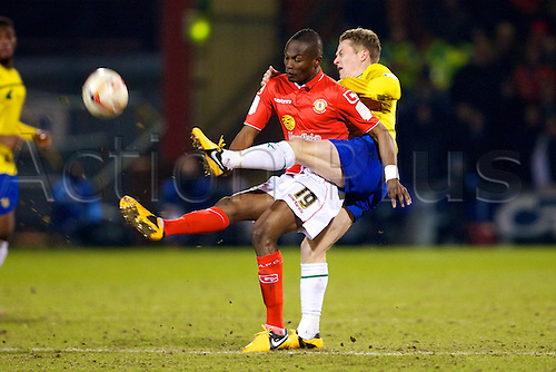 20.02.2013 Crewe, England. Crewe Alexandra midfielder Abdul Osman in action during the Johnstones Paint Trophy Northern Area Final 2nd Leg game between Crewe Alexandra and Coventry City from the Alexandra Stadium.