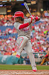 22 May 2015: Philadelphia Phillies outfielder Odubel Herrera at bat during a game against the Washington Nationals at Nationals Park in Washington, DC. The Nationals defeated the Phillies 2-1 in the first game of their 3-game weekend series. Mandatory Credit: Ed Wolfstein Photo *** RAW (NEF) Image File Available ***