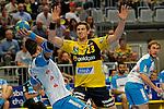 GER - Mannheim, Germany, September 23: During the DKB Handball Bundesliga match between Rhein-Neckar Loewen (yellow) and TVB 1898 Stuttgart (white) on September 23, 2015 at SAP Arena in Mannheim, Germany. Final score 31-20 (19-8) .  Dominik Weiss #6 of TVB 1898 Stuttgart, Hendrik Pekeler #23 of Rhein-Neckar Loewen<br /> <br /> Foto &copy; PIX-Sportfotos *** Foto ist honorarpflichtig! *** Auf Anfrage in hoeherer Qualitaet/Aufloesung. Belegexemplar erbeten. Veroeffentlichung ausschliesslich fuer journalistisch-publizistische Zwecke. For editorial use only.