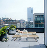 A pair of sun loungers by Design Within Reach on a roof terrace with a view of over Manhattan