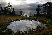 Fog lifts over islands and water soaked muskeg terrain above Sitka Sound in Southeast Alaska.