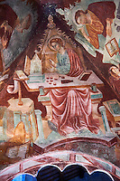 Frescoes on the inside of the rare early Gothic altar canipe of the Basilica Church of Santa Maria Maggiore, Tuscania