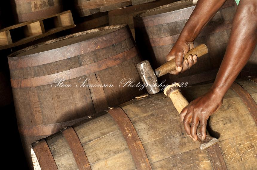 A cooper at Cruzian Rum Distillery in St. Croix, USVI MR