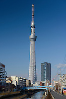 Tokyo Sky Tree, Tokyo, Japan, January 17, 2015. Edokiriko is a style of cut glass that dates back to 1834 and is similar to British cut glass. It makes use coloured glass and highly-intricate Japanese motifs.