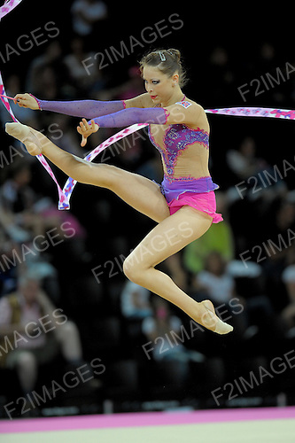 Rhythmic World Championships Montpelier France 21.9.11. Individual Competition ribbon & Clubs.. British Champion Francesca Jones pictured during her ribbon routine