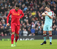 Liverpool's Emre Can and Burnley's Joey Barton<br /> <br /> Photographer Rich Linley/CameraSport<br /> <br /> The Premier League - Liverpool v Burnley - Sunday 12 March 2017 - Anfield - Liverpool<br /> <br /> World Copyright &copy; 2017 CameraSport. All rights reserved. 43 Linden Ave. Countesthorpe. Leicester. England. LE8 5PG - Tel: +44 (0) 116 277 4147 - admin@camerasport.com - www.camerasport.com
