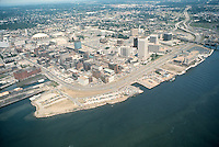 1977 June ..Redevelopment.Downtown South (R-9)..WATERFONT AERIAL.LOOKING NORTHEAST...NEG#.NRHA# 5496..