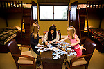 From left, Sage Lescher, Samantha Corrola-Landry, and Bria Lescher play in the children's bunkhouse room of Richard Landry's Mammoth Lakes, CA vacation home, January 9, 2010.