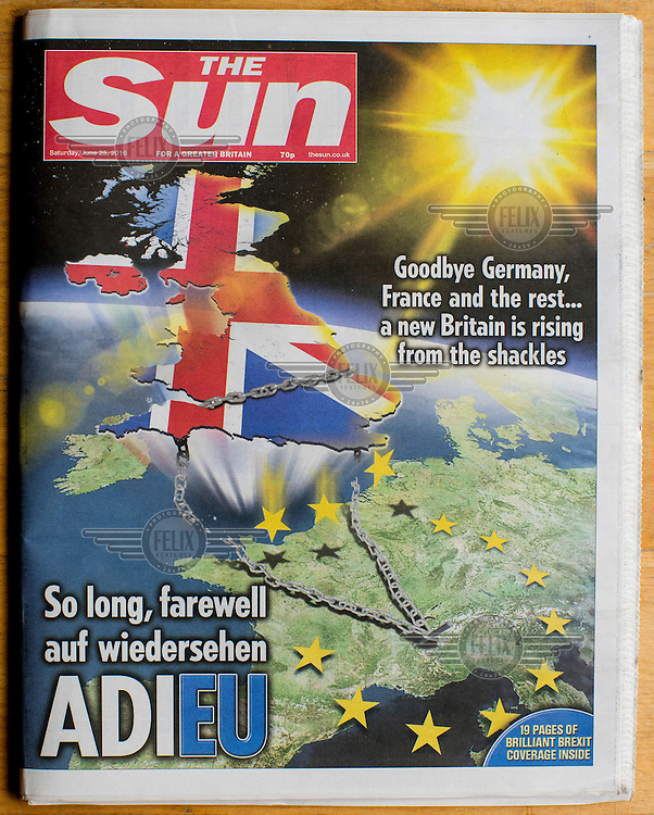 The front cover of the Eurosceptic tabloid newspaper, The Sun, on 25 June 2016, two days after the EU referendum. The Sun, owned by Australian media tycoon Rupert Murdoch, supported the Leave (the EU) side during the campaign leading up to the vote.