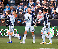 Aurelien Collin, Claudio Bieler.  Sporting Kansas City defeated Philadelphia Union, 3-1. at PPL Park in Chester, PA.