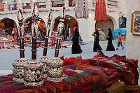 "Doha, Qatar.  Market Scene, in the Recently Modernized ""Traditional"" Market.  Qatari Women in Abayas."