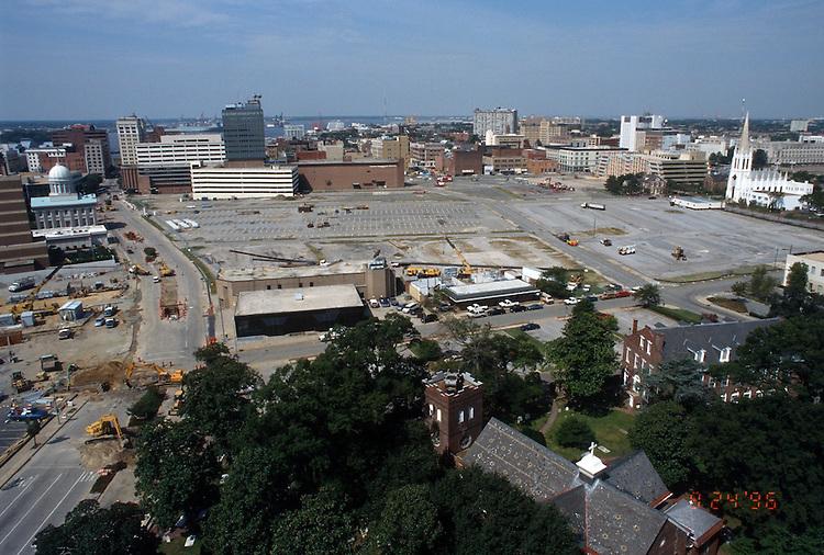 1996 September 24..Redevelopment..Macarthur Center.Downtown North (R-8)..PROGRESS.LOOKING WEST .FROM SCHOOL ADMIN BUILDING...NEG#.NRHA#..