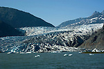 Alaska, Juneau: Mendenhall Glacier at Juneau.    .Photo #: alaska10160 .Photo copyright Lee Foster, 510/549-2202, lee@fostertravel.com, www.fostertravel.com..
