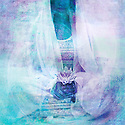 Feminine figure in lotus blossom meditation.