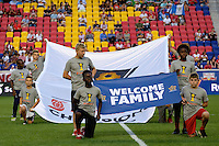 Harrison, NJ - Wednesday Aug. 03, 2016: Flag kids during a CONCACAF Champions League match between the New York Red Bulls and Antigua at Red Bull Arena.