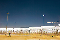 Andasol 1 and 2, a pair of parabolic trough solar thermal power plants located in Granada. With a gross electricity output of around 180 GWh per year and a collector surface area of over 510,000 square metres, they are the largest solar power plants in the world. Following their construction period of around two years, the Andasol power plants will supply up to 200,000 people with environmentally friendly solar electricity.