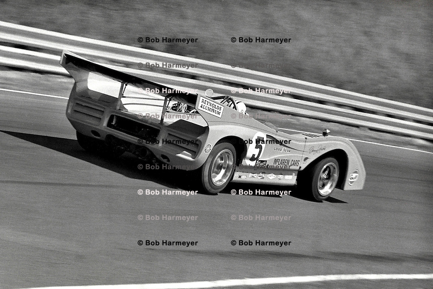 Denny Hulme drives the 1971 McLaren Chevrolet in the SCCA Can-Am event at Le Circuit Mont Tremblant, St. Jovite, Quebec, Canada.