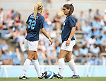1 September 2007: North Carolina's Kristi Eveland (32) and Jessica Maxwell (24). The University of South Carolina Gamecocks defeated the University of North Carolina Tar Heels 1-0 at Fetzer Field in Chapel Hill, North Carolina in an NCAA Division I Womens Soccer game.