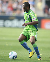 Steve Zakuani #11 of the Seattle Sounders FC against the Philadelphia Union during the first MLS match at PPL stadium in Chester, PA. on June 27 2010. Union won 3-1.