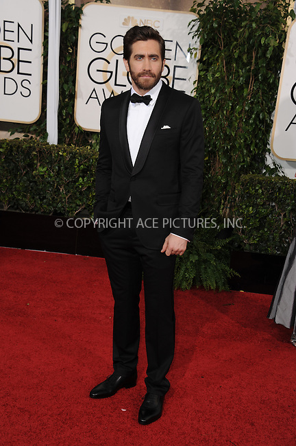 WWW.ACEPIXS.COM<br /> <br /> January 11 2015, LA<br /> <br /> Jake Gyllenhaal arriving at the 72nd Annual Golden Globe Awards at The Beverly Hilton Hotel on January 11, 2015 in Beverly Hills, California. <br /> <br /> <br /> By Line: Peter West/ACE Pictures<br /> <br /> <br /> ACE Pictures, Inc.<br /> tel: 646 769 0430<br /> Email: info@acepixs.com<br /> www.acepixs.com