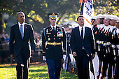 US President Barack Obama (L) and Italian Prime Minister Matteo Renzi (R)participate in an official arrival ceremony on the South Lawn of the White House in Washington DC, USA, 18 October 2016. Later today President Obama and First Lady Michelle Obama will host their final state dinner featuring celebrity chef Mario Batali and singer Gwen Stefani performing after dinner. <br /> Credit: Shawn Thew / Pool via CNP
