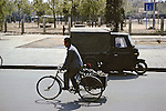 Three Wheeled Bike & Boy On Side Cart