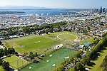Seattle's Jefferson Park with Seattle skyline and waterfront in the background