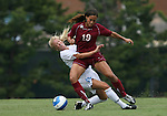 1 September 2007: South Carolina's Mary Worthen (19) collides with North Carolina's Rachel Givan (16). The University of South Carolina Gamecocks defeated the University of North Carolina Tar Heels 1-0 at Fetzer Field in Chapel Hill, North Carolina in an NCAA Division I Womens Soccer game.