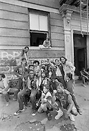 """New York, NY July 20th 1972 - New York street gang """"Savage Skulls"""". The trademark of the primarily Puerto Rican gang was a sleeveless denim jacket with a skull and crossbones design on the back. Based in the Hunts Point area of the  South Bronx, the gang declared war on the drug dealers that operated in the area. Running battles were frequent with rival gangs """"Seven Immortals"""" and """"Savage Nomads"""".  - members of the """"Dirty Dozen"""" gang"""