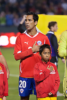 CARSON, CA – JANUARY 22: Chile forward Luis Pedro Figueroa (20) before the international friendly match between USA and Chile at the Home Depot Center, January 22, 2011 in Carson, California. Final score USA 1, Chile 1.