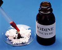 STARCH-IODINE COMPLEX TEST: CORN STARCH<br /> (Variations Available)<br /> Iodine Solution Is Placed On Corn Starch<br /> The iodide ion, I-(aq), oxidizes to become iodine, I2, which combines with the starch in corn starch to form the deep blue starch-iodine complex.