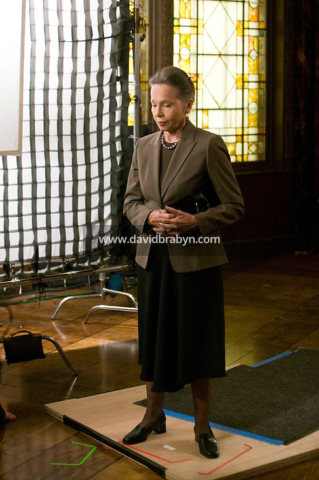 """8 May 2006 - North Bergen, NJ - French actress Leslie Caron (R) rehearses her lines between two takes on the studio set of television show """"Law & Order: SVU"""" in North Bergen, USA, 8 May 2006. In this rare appearance in front of American television cameras, Caron, 74, plays a French victim of past sexual molestation in an episode entitled """"Recall"""" due to air in the fall. Caron starred in Hollywood classics such as """"An American in Paris"""" (1951), """"Lili"""" (1953), """"Gigi"""" (1958). More recently she appeared in """"Chocolat"""" (2000) and """"Le Divorce"""" (2003). Photo Credit: David Brabyn"""