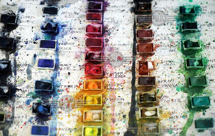 Blocks of water colours in artist Quentin Blake's studio.
