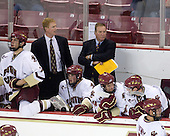Carl Sneep (BC - 7), Greg Brown (BC - Assistant Coach), Brian Dumoulin (BC - 2), Jim Logue (BC - Assistant Coach), Brooks Dyroff (BC - 14), Chris Kreider (BC - 19) - The Boston College Eagles defeated USA Hockey's National Team Development Program's Under 18 team 6-3 on Friday, October 9, 2009 at Conte Forum in Chestnut Hill, Massachusetts.