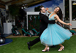 Karen Hauer and Kevin Clifton from BBC's Strictly Come Dancing perform at the Bosch display at the RHS Chelsea Flower Show in London