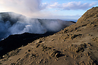 Smoke billowing from the crater of Yasur Volcano, Tanna Island, Vanuatu.
